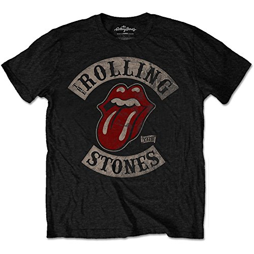 Rolling Stones da uomo Tour 78BLK TS A Maniche Corte Maglietta nero Small