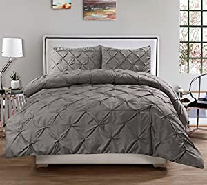 Sweet Home Collection 3 Piece Luxurious Pinch Pleat Comforter Set, Full/Queen, Gray