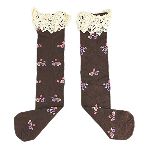 Sweet Kids Child Girl's Cotton Princess Floral Flowers Lace Infant Toddler Lace Ruffles Long Tube Socks Bow Knee High Socks (Pot Box Vapor compare prices)