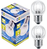 4 x Eco Halogen Energy Saving Mini Golf Balls Globes 28W = 40w ES E27 Edison Screw Classic Clear Round, Dimmable Light Bulbs Lamps, G45, Mains 240V