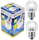 2 x Eco Halogen Energy Saving Mini Golf Balls Globes 28W = 40w ES E27 Edison Screw Classic Clear Round, Dimmable Light Bulbs Lamps, G45, Mains 240V