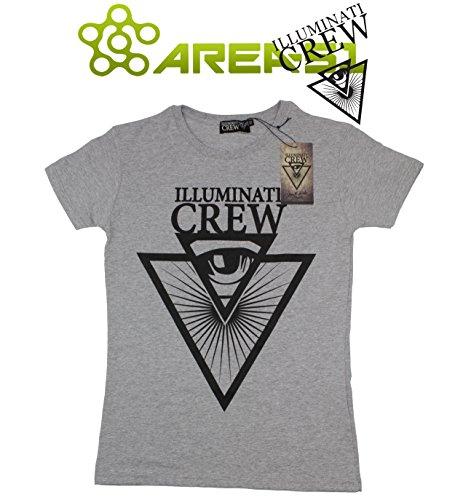 T-shirt Illuminati Crew Grigio con stampa (XS)