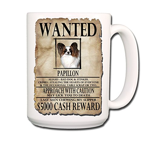Papillon Wanted Poster Coffee Tea Mug 15 oz Funny