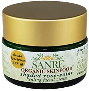 SanRe Organic Skinfood - Shaded Rose - Organic Rose and Coconut Healing Day Cream For Irritated/Psoriasis and/or Eczema Prone Skin - SPF 30