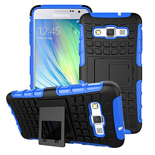 A3-Case--Hybrid-Heavy-Duty-Armor-Cover-Double-Layer-Protection-Shock-Proof-Shell--Anti-Slip---Built-In-Kickstand--Slim-Skin-for-Samsung-Galaxy-A3--Free-Gifts--Stylus---Screen-Protector---Blue