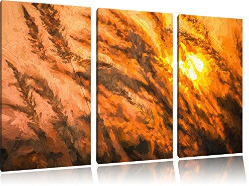 trockener-schilf-im-wundervollen-sonnenuntergang-pinsel-effekt-3-teiler-leinwandbild-120x80-bild-auf