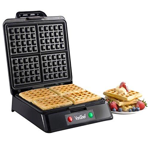 Discover Bargain VonShef Quad Belgian Waffle Maker, 1200 Watt