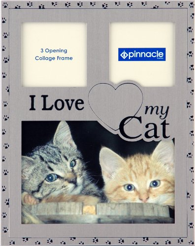 Pinnacle Frames and Accents Pewter I Love My Cat Collage Photo Frame, 7-Inch by 9-Inch