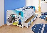 Best For Kids cama infantil con protección anti Caídas con cajón y con 10cm Colchón TÜV certificado Super Selección 3Tamaños Diversos diseños Polizei Talla:80x160