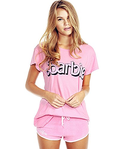 FV RELAY Women's Barbie Print Short Sleeve O-Neck Loose Tops Destroyed T Shirt (S,Pink)