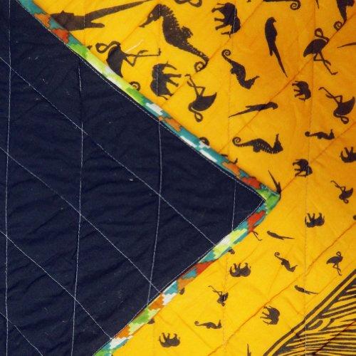 Decorativo naranja algodón acolchado hecho a mano Tamaño Twin Gudri Floral Pattern Colcha Reversible India 98