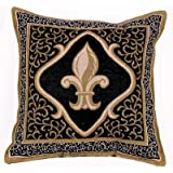 CSG Fleur De Lis Black Decorative Tapestry Toss Pillow USA Made