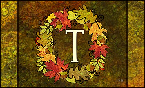 Toland Home Garden Fall Wreath Monogram T 18 x 30-Inch Decorative USA-Produced Standard Indoor-Outdoor Designer Mat 800139