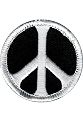 Black & White Peace Sign Sew Iron On Patch