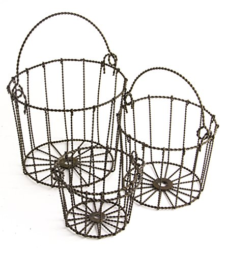 Round Metal Country Style Basket with Handles, Set of 3 (Large Willow Basket With Handle compare prices)