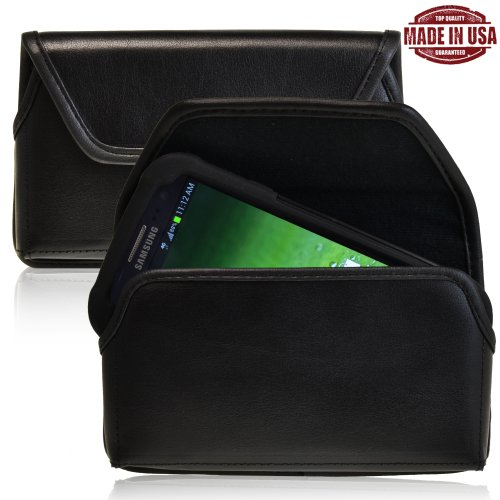 Turtleback Genuine Leather Holster Case Pouch With Metal Belt Clip Fits Samsung Galaxy S3 Iii With Otterbox / Ballistic Case - Made In Usa