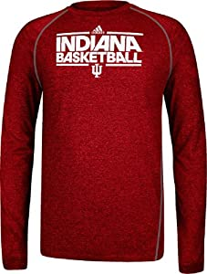Indiana Hoosiers Heather Red Dribbler Long Sleeve Climalite Basketball Practice Shirt... by adidas