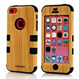 Meaci Iphone 5c Case Hard Soft Combo Hybrid Defender High Impact Body Armorbox Hard Pc&silicone Case (Wood Pattern&black)