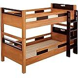 高耐荷重 耐震 宮付 エコ塗装 二段ベッド クレイユ (ライトブラウン×ブラウン)