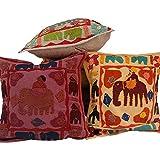 Ufc Mart Elephant Designer Patchwork Cushion Cover Set, Color: Multi-Color, #Ufc00433