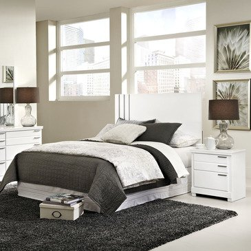 Standard Furniture Metropolitan 2 Piece Headboard Bedroom Set in Glossy White