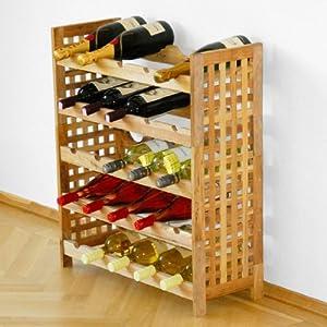 Cantinetta / scaffale per vino LUCCA per 25 bottiglie, legno di noce oleato, ampilabile ...