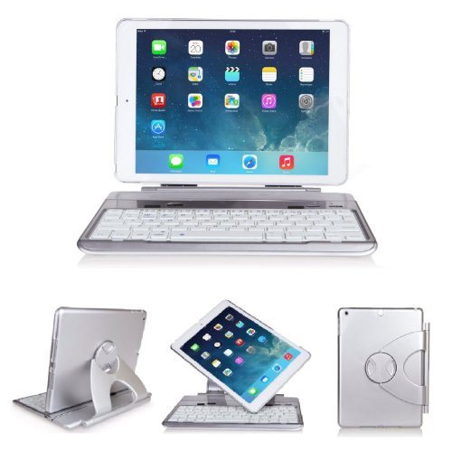 Supernight® Wireless Bluetooth Folio Laptop Style Removable Detachable Keyboard Case With 360 Degree Rotatable Swivel Stand Multiple Viewing Angles For Apple Ipad Air & Ipad 5 (For Ipad Air / Ipad 5, Sliver)