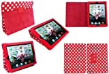 Flash Superstore New Apple Ipad 3 & Apple Ipad 2 Red / White Polka Dots Multifunctional / Multi Angle Wallet / Cover / Stand / Typing Case With Magnetic Sleep Wake Sensor (All versions Wi-Fi and Wi-Fi + 3G/4G - 16GB 32GB 64GB)