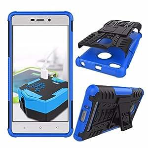 TARKAN Hard Armor Hybrid Rubber Bumper Flip Stand Rugged Back Case Cover For Xiaomi Mi Redmi 3S / 3 Prime [Blue]