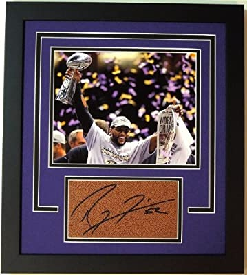 Ray Lewis Autographed / Hand Signed Football Cut CUSTOM FRAME with Baltimore Ravens Super Bowl 47 XLVII 8x10 Photo