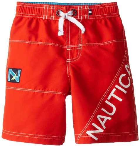Nautica Little Boys' Fashion Swim Trunks, Bright Orange, Medium back-1051345