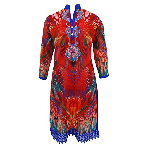 Embroidered Rayon Top Full Sleeves Long Red Kurti Summer Women Wear Tunic Sz L