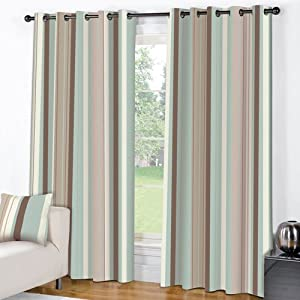 """STRIPED BLUE CREAM PAIR LINED EYELET RING TOP CURTAINS (66"""" wide x 90"""" drop)"""