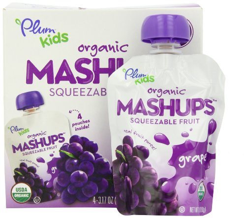 Plum Kids Organic Fruit Mashups Grape 4 Count Pack of 6