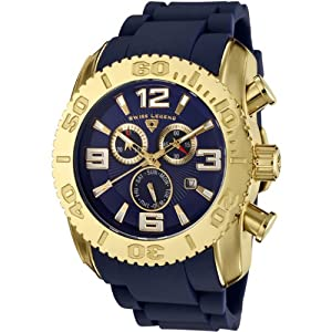 Mens 20067-YG-03 Commander Collection Chronograph Yellow Gold Blue Rubber Watch