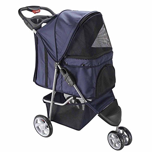 OxGord® Pet Stroller Cat / Dog Easy Walk Folding Travel Carrier Carriage – 2015 Newly Designed 3 Wheeler Elite Jogger – Navy Blue