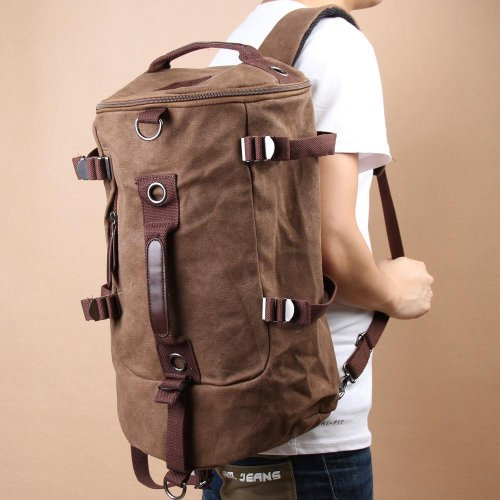 Bestope Portable Canvas Man Boy Backpack Rucksack Travel Outdoor Laptop Hiking Luggage Gym Satchel Bag Duffle (Coffee) front-407616