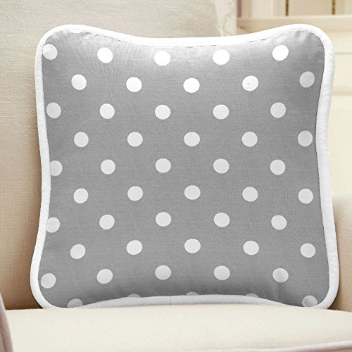 Carousel Designs Gray And White Dots And Stripes Square Decorative Pillow front-341600