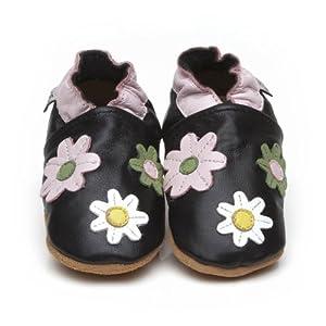 Chaussons Bébé en cuir doux - Petites fleures Noir - 6/12 mois