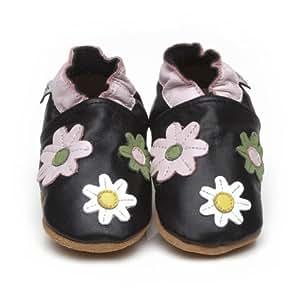 Chaussons Bébé en cuir doux - Petites fleures Noir - 12/18 mois