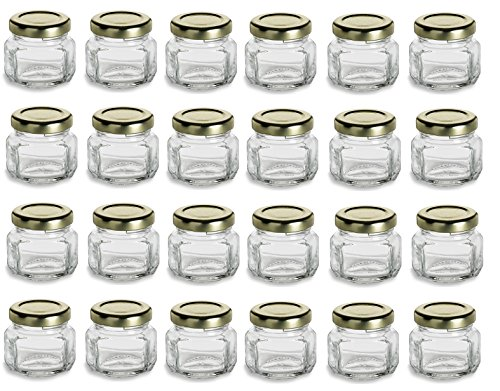 Nakpunar 1.5 oz Mini Oval Hexagon Glass Jars with White Plastisol Lined Lids - Set of 24 - Value Pack