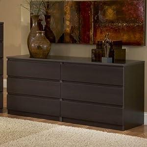 Amazon Com Modern Danish 6 Drawer Long Dresser Brown