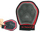 Mr. Peanut's Pet Grooming Glove Brush for Either Hand, Deshedding Tool, For Long and Short Hair Grooming of Dogs, Horses, Bunnies & Some Agreeable Cats, Pet Massage & Bathing Brush & Comb