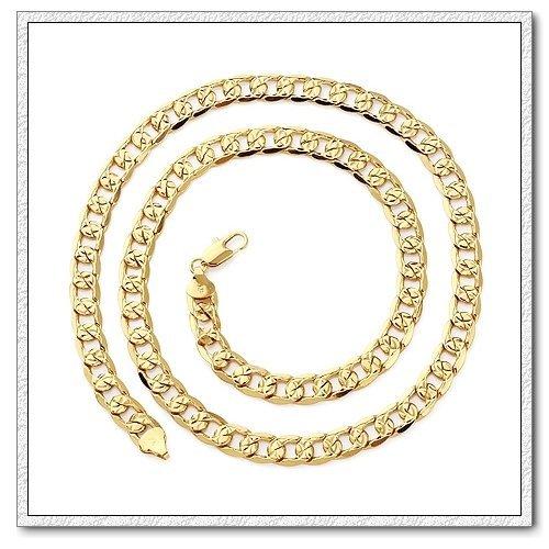 Elegant 18 k Gold Plated 8 mm Men`s Chain Necklace N166