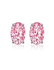 92.5 Elegant Silver Pink Elegant Oval Stud Earrings Made With Swarovski Zirconia By Mahi ER3102003Pin