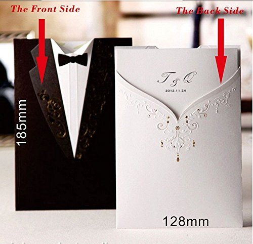 Wishmade 50x Bronzing Tri-fold Wedding Invitations Cards Kits for Birthday Engagement Bridal Shower Paper Cardstock with Vintage Gowns of Groom and Bride Design Pattern(set of 50pcs)CW2011