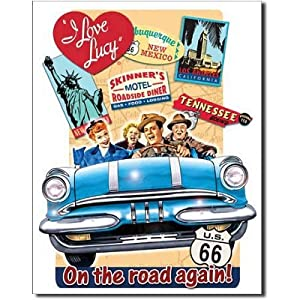 I Love Lucy On the Road Again TV Retro Vintage Tin Sign