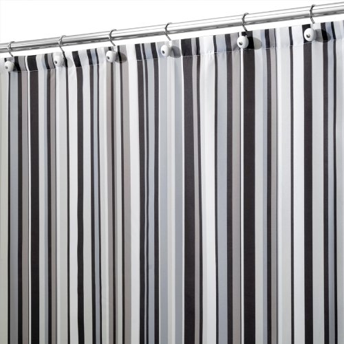 interdesign regency stripe shower curtain black and gray 72inch by 72inch