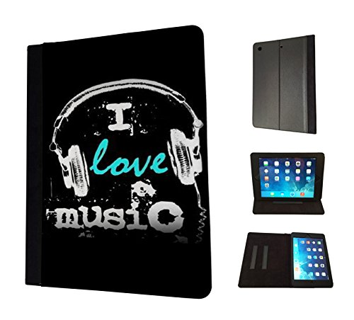 1460 - Cool Fun Trendy i love music headphones rnb dance jazz rave Design Apple ipad Air 1 -2014 Fashion Trend TPU Leder Brieftasche Hülle Flip Cover Book Wallet Stand halter Case