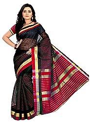 Veer Prabhu Creation Women's Cotton Saree with Blouse Piece (Black & Red)